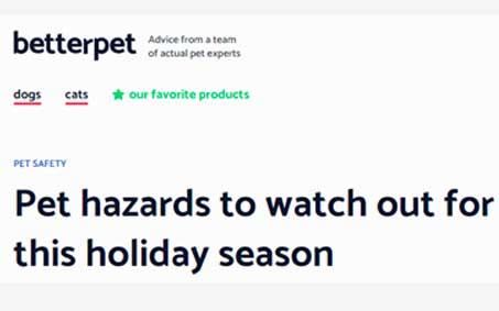 Newsroom | Pet Hazards to Watch For This Holiday Season | Operation Kindness North Texas No-Kill Animal Shelter