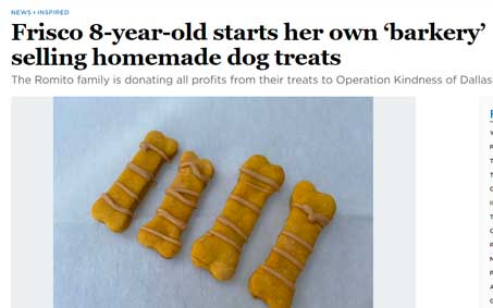 Newsroom | Frisco 8-year-old starts her own 'barkery' selling homemade dog treats | Operation Kindness North Texas No-Kill Animal Shelter