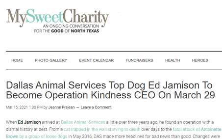 Newsroom | Dallas Animal Services Top Dog Ed Jamison To Become Operation Kindness CEO On March 29 | Operation Kindness North Texas No-Kill Animal Shelter