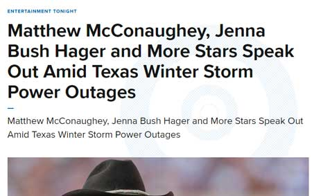 Newsroom | Matthew McConaughey, Jenna Bush Hager and More Stars Speak Out Amid Texas Winter Storm Power Outages | Operation Kindness North Texas No-Kill Animal Shelter